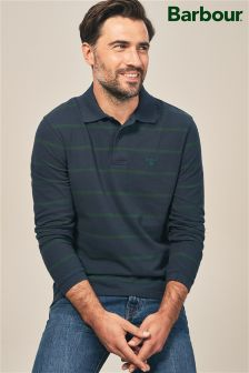 Barbour® Navy Lineout Striped Long Sleeve Polo