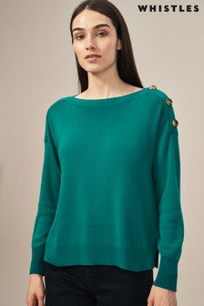 Whistles Green Button Shoulder Jumper