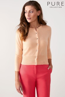 Pure Collection Orange Cashmere Cropped Cardigan