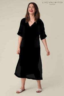 Live Unlimited Black Kaftan Dress with Side Slits