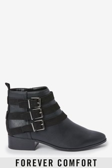 Forever Comfort® Buckle Detail Ankle Boots