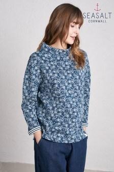 חולצה של Seasalt דגם Footpath Folk Daisy Night בכחול