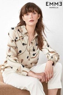 Emme Marella Cream Cocco Chain Print Blouse
