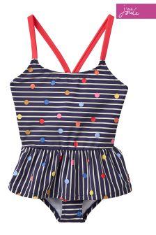 Joules Navy Stripe Multi Spot Terri Two Piece Swim Suit