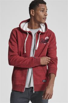 Fabric Interest Graphic Zip Through Hoody