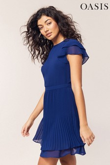 Oasis Blue Chiffon Pleated Skater Dress