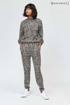 Warehouse Animal Leopard Print Cosy Jogger