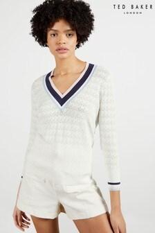 Ted Baker White Almahh V-Neck Stripe Detailed Sweater