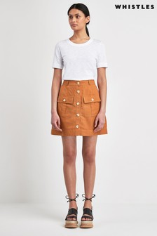 Whistles Linen Pocket A-Line Skirt