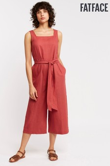 FatFace Red Copper And Black Nikki Linen Blend Jumpsuit