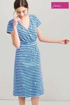 Joules Jude Jerseykleid in Wickeloptik, blau