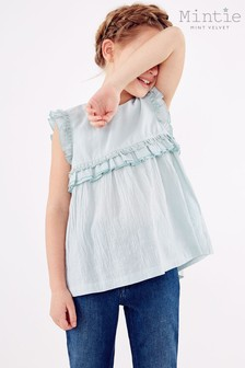 Mintie by Mint Velvet Green Tasselled Trapeze Top