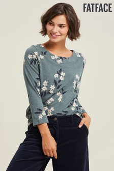FatFace Green Button Back Etched Floral Top