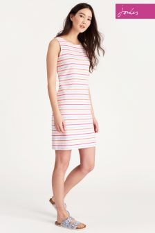 Joules White Multi Stripe Riva Dress