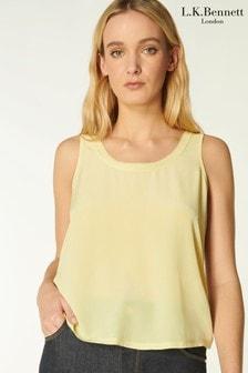 L.K.Bennett Yellow Ava Jersey Top