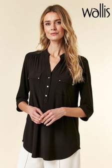 Wallis Black Longline Shirt
