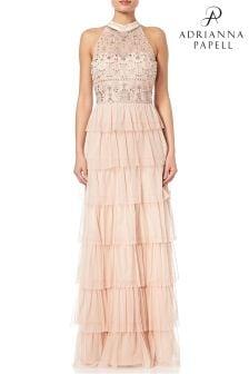 Adrianna Papell Blush Sleeveless Beaded Ruffle Evening Dress