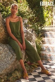 FatFace Green Ellis Linen Blend Jumpsuit