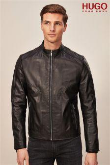 HUGO Black Leather Biker Jacket