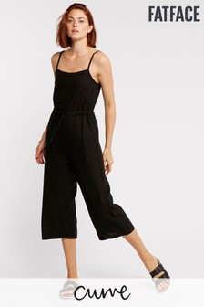 FatFace Black Ellis Linen Blend Jumpsuit