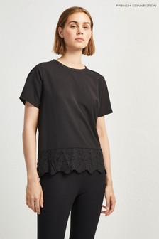 9099a0a15d6 French Connection Black Jersey Trim Tee