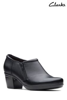 Clarks Black Leather Emslie Claudia Zip Shoe