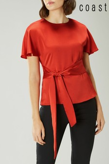 Coast Orange Poppy Satin Tie Front Top
