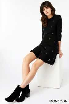 Monsoon Black Elena Embroidered Fit And Flare Dress