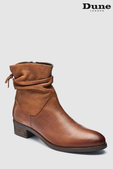 Dune Tan Pager Rouched Leather Ankle Boot
