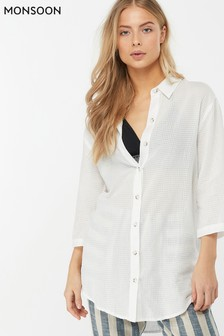 Monsoon Ladies White Sydney Longline Shirt