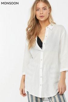 Chemise Monsoon Ladies Sydney blanche coupe longue