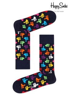 Happy Socks Navy Thumbs Up Print Socks