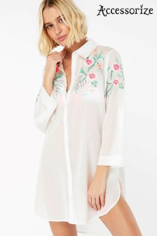 Accessorize White Ellie Embroidered Shirt Dress