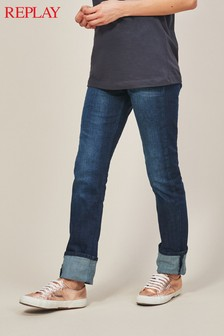 Replay® Dark Wash Jacksy Straight Leg High Rise Jean