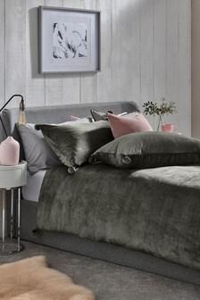 Fleece Pom Pom Duvet Cover And Pillowcase Set