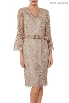 Gina Bacconi Natural Indiana Lace Dress With Tie Belt