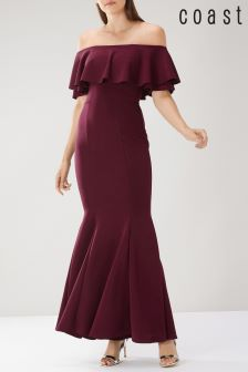 Coast Burgundy Chloe Bardot Maxi Dress