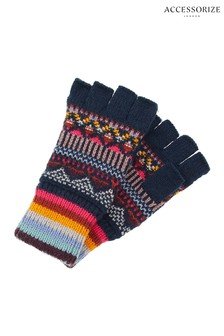Accessorize Harvard Fairisle Pattern Fingerless Gloves