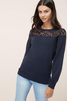 Sweatshirt mit Spitzendetail