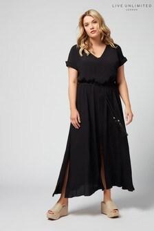 Live Unlimited Black Morocain V-Neck Maxi Dress