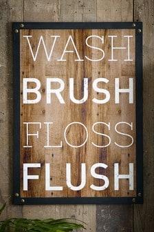 """Настенное украшение с надписью """"Wash Brush Floss Flush"""""""
