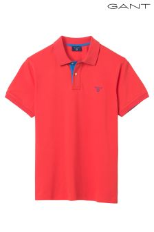 GANT Coral/Pink Contrast Collar Short Sleeved Pique Polo