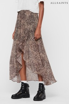 AllSaints Leopard Print High Lo Skirt