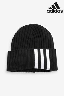 Черная шапочка-бини с 3 полосками adidas