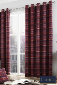Curtina Brodie Check Eyelet Curtains