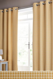 Mini Geo Jacquard Eyelet Curtains