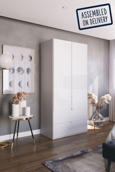 Monroe 1M Glass Hinged 2 Door Wardrobe