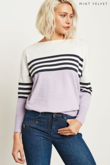 Mint Velvet Blocked/Stripe Mix Oversized Knit Top