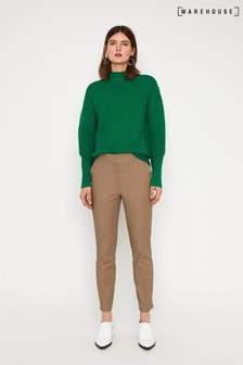 Warehouse Natural Compact Cotton Trouser