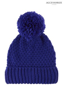 Accessorize Blue Pom Beanie